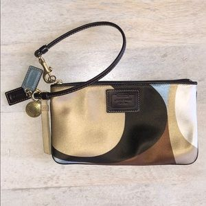 Coach | Signature satin wristlet purse